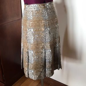 Tory Burch Gray Tan Pleated Silk Skirt 4